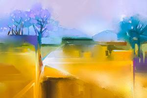 Abstract Oil Painting Background. Colorful Yellow and Purple Sky Oil Painting Landscape on Canvas. by pluie_r