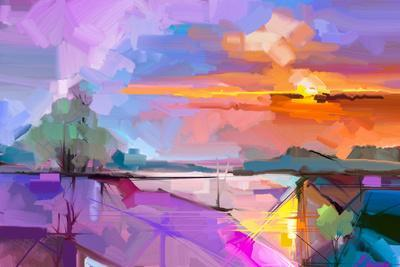 Abstract Oil Painting Landscape Background. Artwork Modern Oil Painting Outdoor Landscape. Semi- Ab