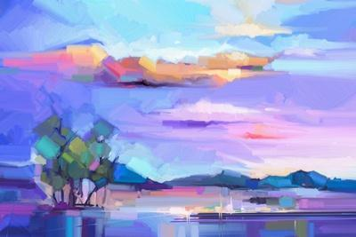 Abstract Oil Painting Landscape Background. Colorful Yellow and Purple Sky. Oil Painting Outdoor La