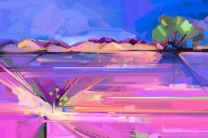 Abstract Oil Painting Landscape Background. Colorful Yellow and Purple Sky. Oil Painting Outdoor La by pluie_r