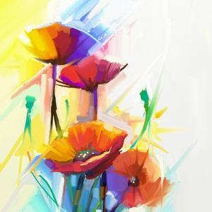 Abstract Oil Painting of Spring Flower. Still Life of Yellow, Pink and Red Poppy. Colorful Bouquet by pluie_r