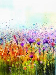 Abstract Watercolor Painting Purple Cosmos Flower,Cornflower, Violet Lavender, White and Orange Wil by pluie_r