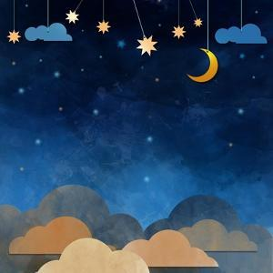 Night Sky,Cloud, Moon and Star - Paper Cut .Water Color on Grunge Paper Texture Background by pluie_r