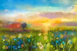 Oil Painting Flowers Dandelion, Cornflower, Daisy in Fields. Sunset Meadow Landscape with Wildflowe by pluie_r