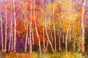 Oil Painting Landscape - Colorful Autumn Trees. Semi Abstract Image of Forest, Aspen Trees with Yel by pluie_r