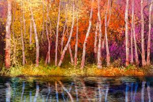 Oil Painting Landscape - Colorful Autumn Trees. Semi Abstract Image of Forest, Trees with Yellow - by pluie_r