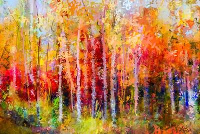 Oil Painting Landscape, Colorful Autumn Trees. Semi Abstract Paintings Image of Forest, Aspen Tree