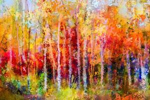 Oil Painting Landscape, Colorful Autumn Trees. Semi Abstract Paintings Image of Forest, Aspen Tree by pluie_r