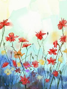 Watercolor Flowers Painting in Soft Color and Blur Style .Vintage Painting Flowers .Spring Floral S by pluie_r