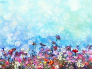 Watercolor Painting Purple Cosmos Flower, White Daisy, Cornflower, Wildflower. Flowers Meadow, Gree by pluie_r