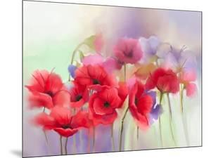 Watercolor Red Poppy Flowers Painting. Flower Paint in Soft Color and Blur Style, Soft Green and Pu by pluie_r