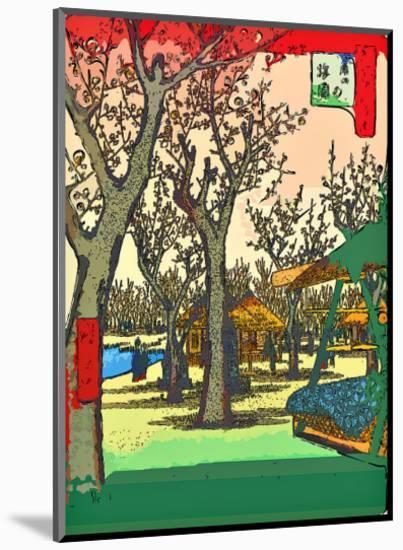 Plum Garden at Kamata-Ando Hiroshige-Mounted Giclee Print