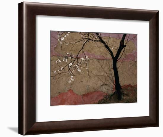 Plum Tree against a Colorful Temple Wall-Raymond Gehman-Framed Photographic Print