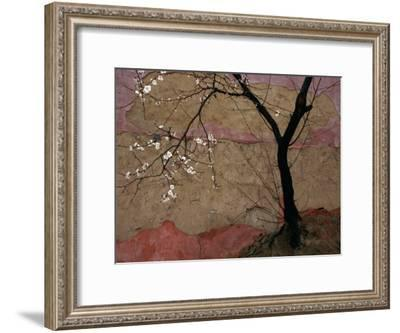 Plum Tree against a Colorful Temple Wall-Raymond Gehman-Framed Photographic Print