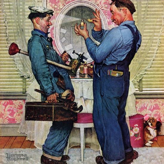 """Plumbers"", June 2,1951-Norman Rockwell-Premium Giclee Print"
