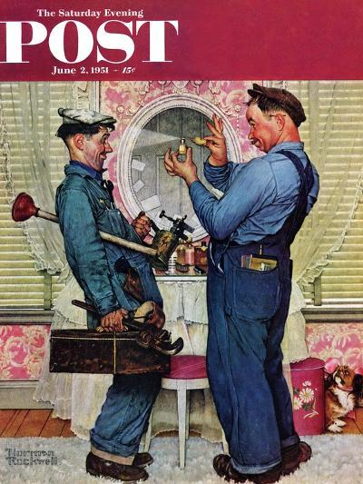 """Plumbers"" Saturday Evening Post Cover, June 2,1951-Norman Rockwell-Giclee Print"
