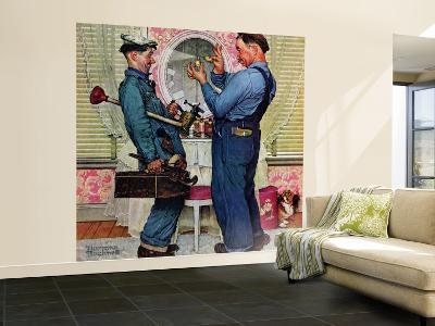 """Plumbers"" Saturday Evening Post Cover, June 2,1951-Norman Rockwell-Wall Mural – Large"