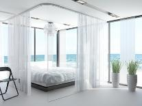 A White Bedroom Interior with Large Bed-PlusONE-Photographic Print