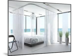 A White Bedroom Interior with Large Bed by PlusONE