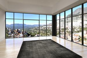 Empty Room Interior with Floor to Ceiling Windows and Scenic View by PlusONE