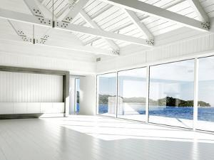 Empty White Room with Large Windows and Scenic View by PlusONE