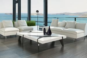 Luxury Living Room Interior with White Couch and Seascape View by PlusONE