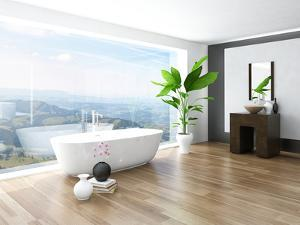 Modern Bathroom Interior with White Bathtub Against Huge Window with Landscape View by PlusONE