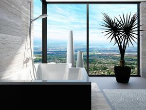 Modern Bathtub in a Bathroom Interior with Floor to Ceiling Windows with Panoramic View by PlusONE