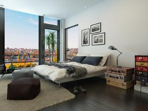Modern Bedroom Interior with Huge Windows and Vintage Furniture by PlusONE