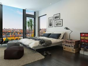 Modern Bedroom Interior with Huge Windows and Vintage Furniture by PlusONE