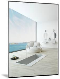 Modern Floor Bathtub Against Huge Window with Seascape View by PlusONE