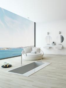 Modern Floor Bathtub Against Huge Window with Seascape View by PlusONE