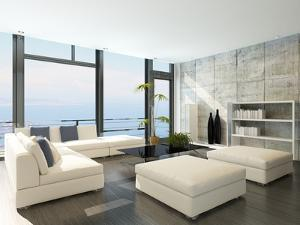 Modern Living Room with Huge Windows and Concrete Stone Wall by PlusONE