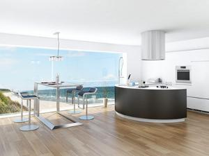 Modern Luxury Kitchen Interior with Fantastic Seascape View by PlusONE