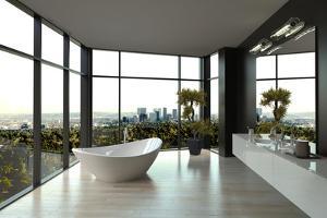Modern White Luxury Bathroom Interior by PlusONE