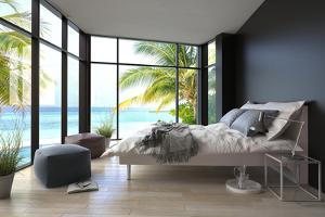 Tropical Bedroom Interior with Double Bed and Seascape View by PlusONE