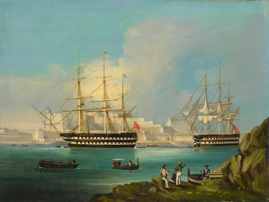 Plymouth Harbour with Shipping--Giclee Print