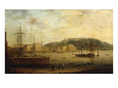 Plymouth Harbour with the Royal William Victualling Yard-William Daniell-Giclee Print