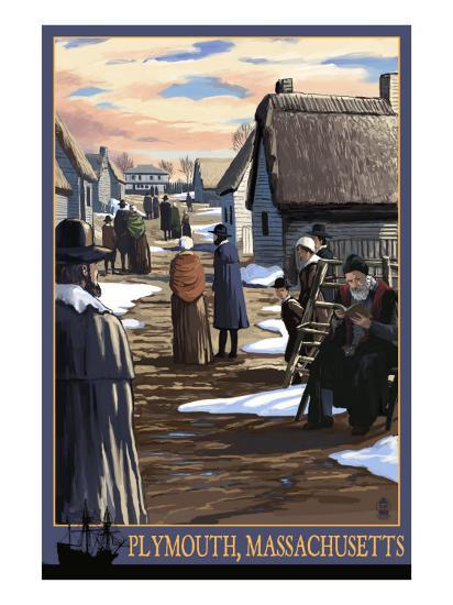 Plymouth, Massachusetts - Pilgrims going to Church-Lantern Press-Art Print