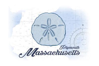 Plymouth, Massachusetts - Sand Dollar - Blue - Coastal Icon-Lantern Press-Art Print