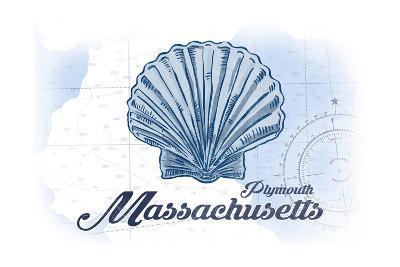 Plymouth, Massachusetts - Scallop Shell - Blue - Coastal Icon-Lantern Press-Art Print