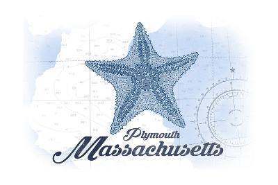 Plymouth, Massachusetts - Starfish - Blue - Coastal Icon-Lantern Press-Art Print