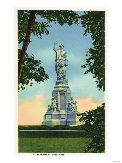 Plymouth, Massachusetts - View of the Forefathers Monument No. 2-Lantern Press-Art Print