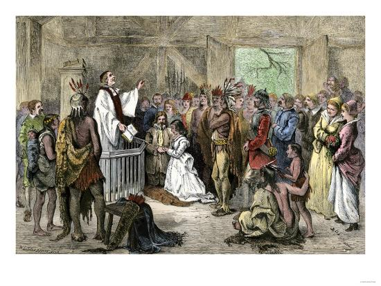 Pocahontas Marriage To John Rolfe In Jamestown Virginia 1614