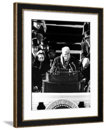Poet Robert Frost Reading a Poem at the Inauguration Ceremony for President John F. Kennedy--Framed Photographic Print