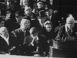 Poet Robert Frost Reading One of His Poems at the Inaugural Ceremony for President John F. Kennedy