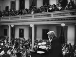 Poet Robert Frost Reciting His Own Poetry to Students and Faculty at Amherst
