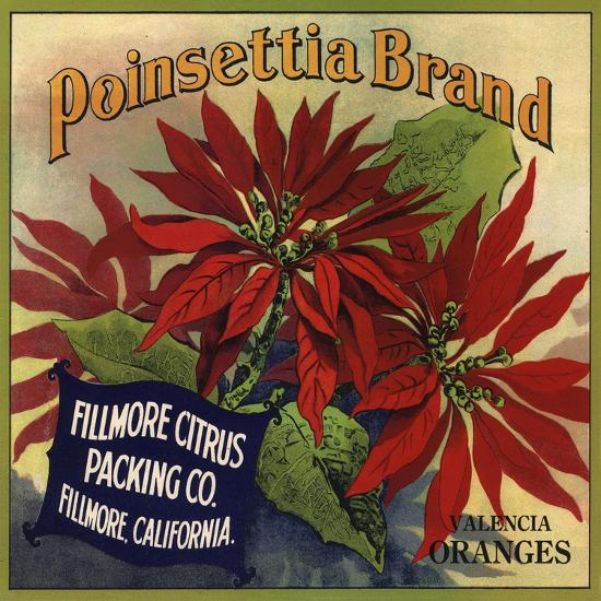 Poinsettia Brand - Fillmore, California - Citrus Crate Label-Lantern Press-Art Print