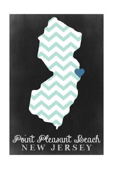 Point Pleasant Beach, New Jersey - Chalkboard-Lantern Press-Art Print