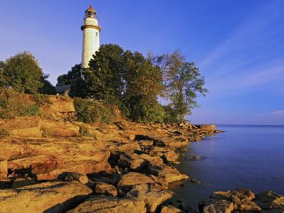 Pointe Aux Barques Lighthouse at Sunrise on Lake Huron, Michigan, USA-Adam Jones-Photographic Print